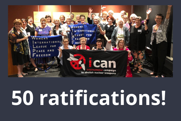 WILPF Australia section celebrating Ban Treaty achievement.