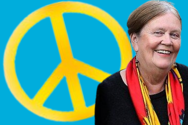 WILPF's Margaret Reynolds with Peace symbol for International Day of Peace