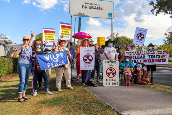 Footpath Demonstration for Maralinga and to Bring Back the Brisbane Nuclear Free Zone Signs